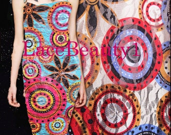 Belige/blue mesh lace with printing,soft Lace, wedding lace, bridal lace,apparel lace, dress lace, vintage lace