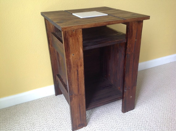 Marble Tile Nightstand Living Room Side Table