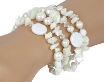 White/Ivory Pearl Bracelet Bridal Bracelet Wedding Bracelet Silver and Pearl Bracelet Four Strand Bracelet Pearl and Crystal Bracelet