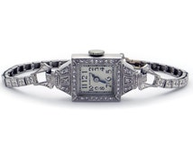 Art Deco Platinum Round Cut Diamond Hamilton 995A Mechanical Wrist Dress Antique Watch 17 Jewels
