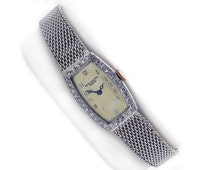 Retro Patek Philippe Platinum 14k White Gold Diamond 18 Jewels Mesh Bracelet Watch Ladies 1950s-1960s