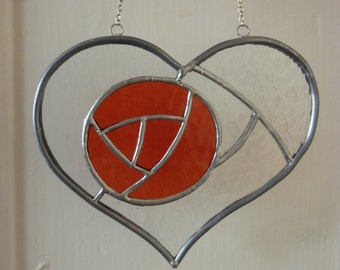 Rose in Heart stained glass suncatcher