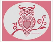 Cross Stitch Pattern Fashionable owl (monochrome filigree) Counted Cross Stitch Pattern / Instant Download Epattern