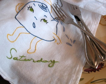 Flour Sack Towels Days of the week Dish Towels, Vintage Style, Pots and Pans, Flour Sack Towels, Hand Embroidered