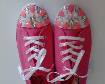 Canvas sneakers,Handmade sneakers,Rhinestones sneakers,Pink sneakers
