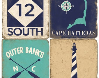 Hatteras Island Outer Banks Italian Marble Coasters (set of 4)
