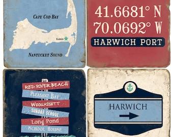 Harwich Cape Cod Italian Marble Coasters