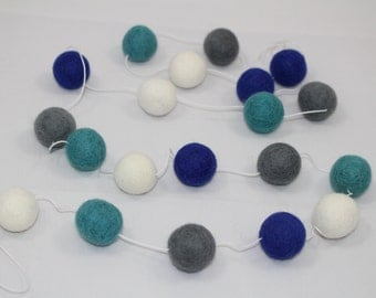 Sale! Felt Ball Garland/Banner! Parties, weddings, holiday decorations, baby showers, nursery decor! Blue, Turquoise, Gray, White