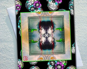 """CANDY skull card, SCI-FI  Indigenous women with green tree snake,framed by candy skulls,ecofriendly,sustainable card,4.13"""" x 5.82"""""""