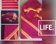 hooded baby blanket, baby blanket with hood, pink, yellow, baby blanket, crochet, warm, chunky, afghan, baby shower gift