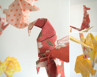 Origami Mobile for baby - coated Theme of Sun - animals