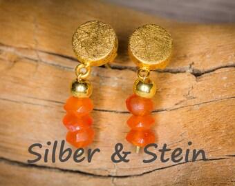 Carnelian gold earrings