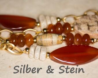 Very Long Necklace With Orange Gemstones