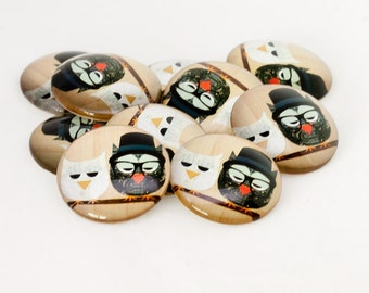 6x 30mm Birds on Wire Character Design Cabochons