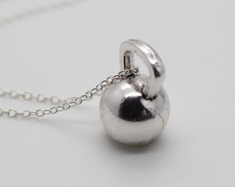 Silver Kettlebell Charm Necklace - Kettle Bell Chain Necklace Fitness Charm Weightlifting Exercise crossfit Pendant Handmade Gift