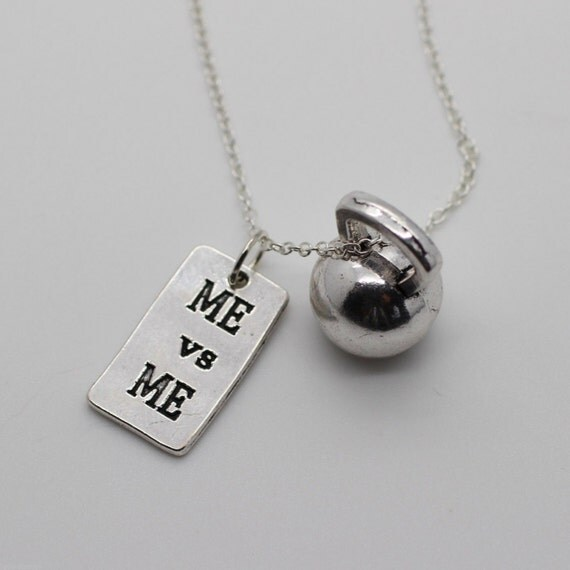 ME Vs ME & KETTLEBELL Necklace Crossfit Jewelry Fitness