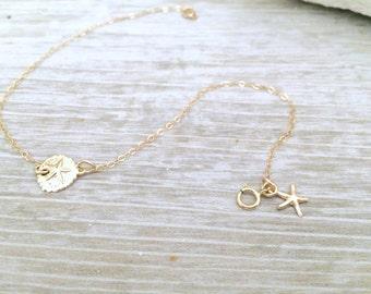 sand dollar anklet,starfish anklet,all 14k gold filled,sand dollar,starfish bracelet,beach wedding,bridesmaids jewelry,summer jewelry,bridal