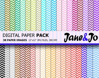 50% OFF SALE Chevron Digital Paper, 38 Sheets , Chevron background , Rainbow chevron  pattern , Digital Scrapbooking Paper Instant Download
