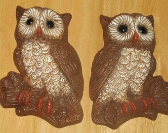 Vintage owls plaque  set