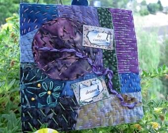 "Miniature Art Quilt, Hand Stitched Quilt, Home Decor, Inspiration Quilt, Quilt Gifts, 5"" x 5"""