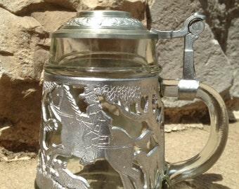 Glass and Pewter Beer Stein Rein Zinn West Germany Horse Hunting Scene Vintage Barware