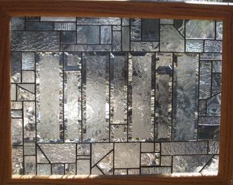 """Stained glass window, framed in oak , glue chip bevels  21.25"""" t x 27.25"""" w"""