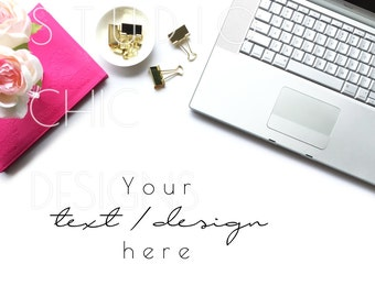 Styled Stock Photography - Styled Desktop - Pink and Gold - Macbook Computer - Digital Image - Flatlay - 017b