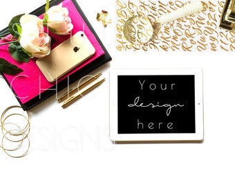 Styled Desktop Image | Pink and Gold | Styled Stock Photography | iPad Desk Images | 012