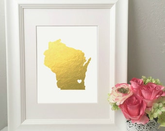 Custom State Foil Print** Real Gold Foil Print** Pick Your State!!