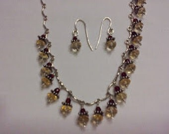 Sterling Silver with Crystals Necklace and Earring set