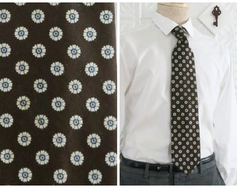 Wide Brown Necktie with White & Blue Daisy Floral Polka Dot Print