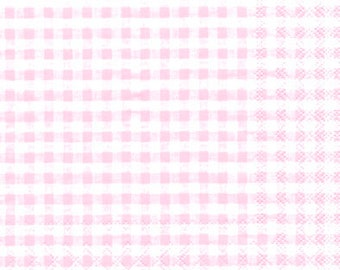 Baby Shower Napkins in Pink Gingham - Individual Packages or Case Discount - For Decoupage or Parties - Lunch Beverage Paper Napkins