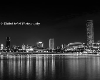 Black and White B & W Singapore Skyline Cityscape Landscape Urban City Lights  Fine Art Photography Digital Download Wall Decor Photo Print