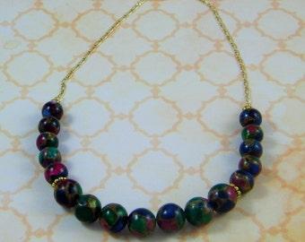 Multicolor Bead Gold Necklace