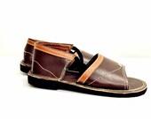 Dark brown dark leather sandals