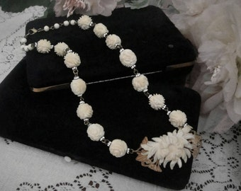 Vintage Carved Rose Celluloid and Rhinestone Necklace Vintage Faux Carved Ivory and Rhinestone Necklace Floral Necklace Faux Bone Necklace