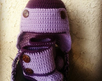 READY TO SHIP, Crochet Baby Set, Earflap Hat and Wrap Around Booties, Trapper Hat, Purple Size 6-12 months, Eskimo Hood, Handmade Winter Set