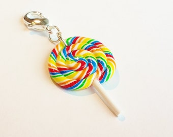 Handmade Rainbow Lollipop Charm - Polymer Clay Food Candy - Miniature Food Jewelry