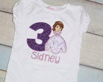 Princess Sofia The First Applique Birthday Shirt