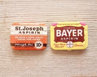 Vintage Aspirin Containers . stash tin . medicine bottles . stash box . small box . small metal box . metal tins . advertising tins