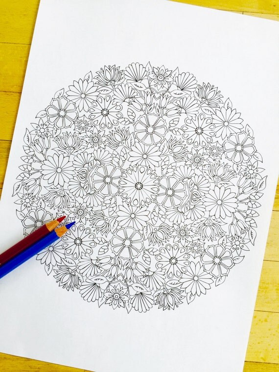 Mandala Bouquet Hand Drawn Adult Coloring Page