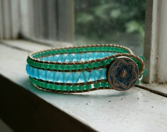 Beaded Sea Glass Cuff Bracelet