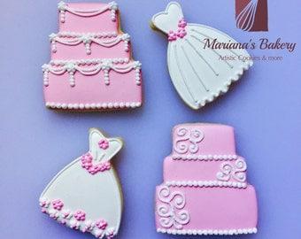 Dress, cake cookie favor (wedding) 1 dozen