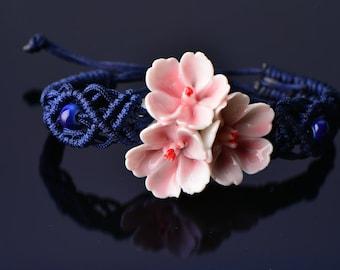 50% Sale Macramé Chinese Bracelet peach flower bracelet china bracelet macrame band pink Chinese bracelet blue ceramic bracelet porcelain br