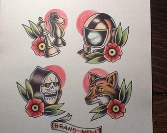 Brand New tattoo flash print