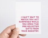 Bridal Shower Card   Wedding Card   Bridal Shower Gift   Funny Wedding Shower Card   Engagement Gift   Wedding Registry   Bride to Be Card