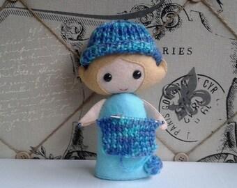 The Little Felt Girl who loves to Knit - pdf NZ pattern designed by Cherry Parker