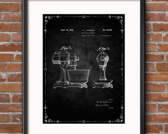 Kitchen Aid Poster, Kitchen Aid Patent Kitchen Aid Print Kitchen Aid Art Kitchen Aid Decor Kitchen Aid Wall Art Kitchen Aid Blueprint - 0435