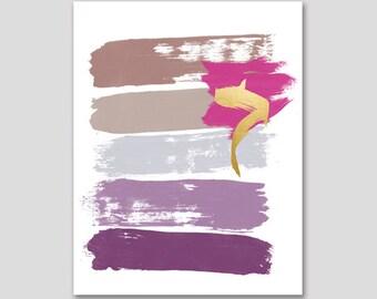 Lilac Brush Stroke Printable Art, Modern Office Wall Art, Lilac Art, Glamour Decor, Office Wall Art, Paint stroke Art
