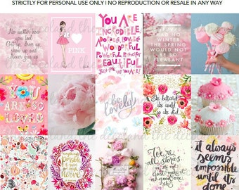PRINTABLES - PINK THEMED Inspirational Quotes Pattern Stickers for Erin Condren Square/Grid